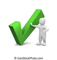 representado, illustration., mark., verde, 3d, cheque, homem