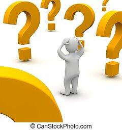 representado, illustration., pergunta, confundido, 3d, marks., homem