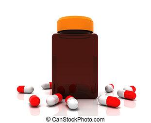 representado, prescrição, derramado, concept., ilustração, medicina, bottle., pílulas, 3d