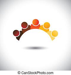 represente, escritório, graphic., crianças, pessoal, reuniões, grupo, &, empregado, sign(icon)-, abstratos, coloridos, discussão, ilustração, interação, escolas, crianças, este, empregados, vetorial, lata, ou