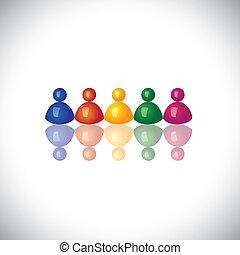 represente, escritório, graphic., sinais, junto, pessoal, reuniões, grupo, ícones, -, equipe, vetorial, empregado, 3d, diversidade, coloridos, companhia, ilustração, unidade, crianças, este, empregados, &, etc, comunidade, lata, ou