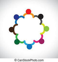 represente, gráfico, diversity., diversidade, crianças, &, este, formando, tocando, pessoas, crianças, também, conceito, trabalho equipe, lata, segurar passa, contém, equipe, incorporado, circle.