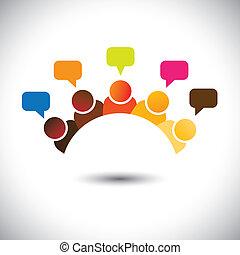 represente, reuniões, grupo, escritório, etc, este, graphic., ilustração, trabalho equipe, fazendo temporal, vetorial, cérebro, lata, membros, discussões, executives(employees), opinions-, airing, opiniões, pessoal