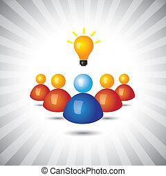 represente, simples, graphic., executivo, gerente, político, ganhar, também, empregado, líder, seu, negócio, sucedido, ilustração, seguidores, ideas-, pessoal, este, pessoa, vetorial, lata, ou