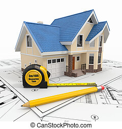 residencial, arquiteta, blueprints., ferramentas, casa