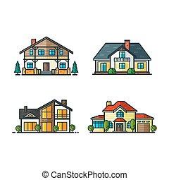 residencial, casas, ícones