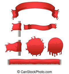 respingo, bandeira, vetorial, sangue, borda, vermelho