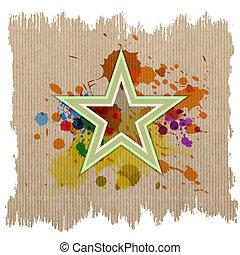 respingo, estrela, retro, tinta