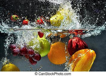 respingo, fruta fresca, água