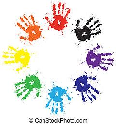 respingo, impressões, tinta, coloridos, mãos