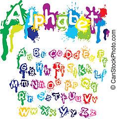 respingo, -, mão, cores, letras, tinta, font., pintura, splatter, desenhado, feito, alfabeto, água