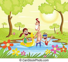 respingue, família, piscina, feliz