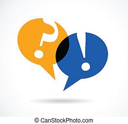 resposta, fala, bolhas, pergunta marca