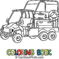 resque, coloração, eyes., livro, car, veículo, engraçado
