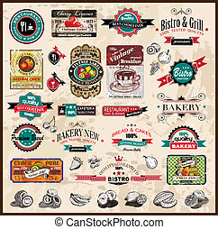 restaurante, bistro, diferente, etiquetas, prêmio, &, alimento, vindima, espaço, text., cobrança, estilos, co, qualidade