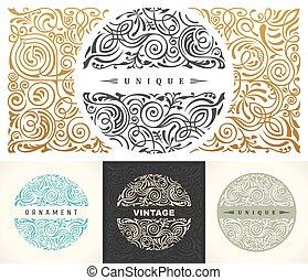 restaurante, emblema, loja, ouro, selo, set., real, calligraphic, vetorial, café, impressão, floral, símbolo, redondo