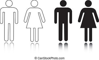 restroom, macho, femininas, ícone