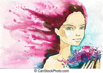 retrato, abstratos, mulher