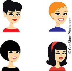 retrato, avatar, mulheres, série