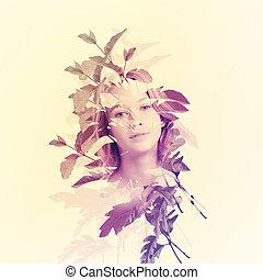 retrato, folhas, mulher