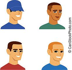 retrato, homens, avatar, caricatura