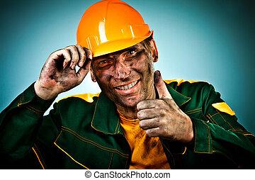 retrato, indústria, trabalhador óleo