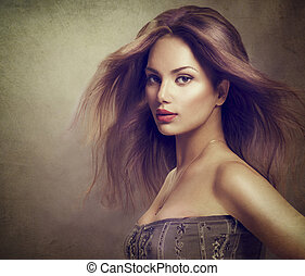 retrato, longo, menina, cabelo, soprando, modelo, moda