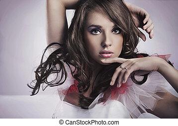 retrato, morena, beleza
