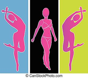 retrato, mulher, silueta, logotipo