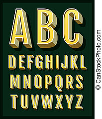 retro, alfabeto, fonte, vetorial, tipo