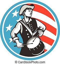 retro, americano, eua, patriota, círculo, bandeira, baterista