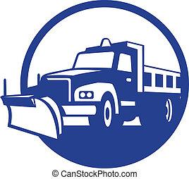 retro, arado, caminhão, círculo, neve
