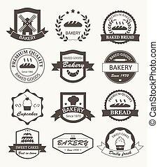 retro, logotipos, panificadora, etiquetas, emblemas