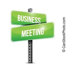 reunião, desenho, ilustração negócio, sinal