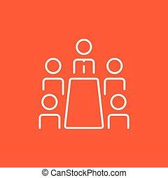 reunião, icon., linha, escritório, negócio