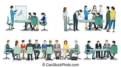 reunião, -, illustration.eps, cooperação, equipe negócio