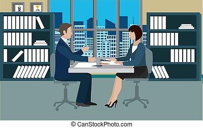 reunião negócio, equipe, escritório