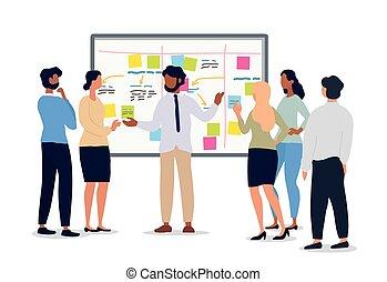 reunião negócio, equipe, ou, segurando, líder