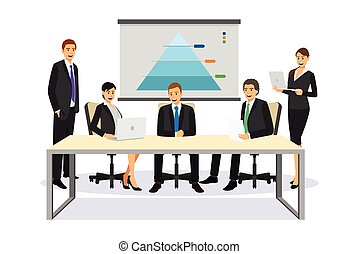 reunião, negócio ilustração, pessoas