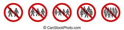 reunião social, distancing, símbolo, proibição