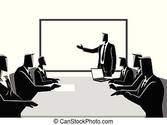 reunião, tendo, pessoas negócio
