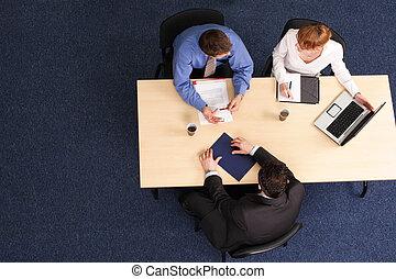 reunião, três, pessoas negócio