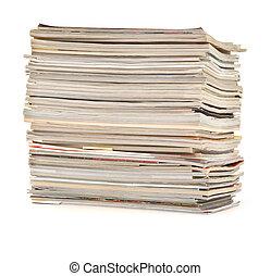 revistas, coloridos, pilha