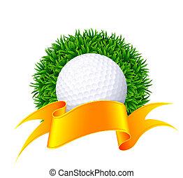 ribbon., bola, golfe, ouro, grama verde