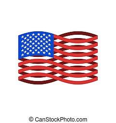 ribbon., eua, nacional, símbolo., ilustração, bandeira, vetorial, américa