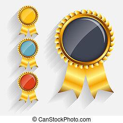 ribbon., jogo, ouro, etiqueta, vetorial, vermelho