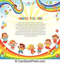ride., coaster, baixo, escorregar, rainbow., modelo, crianças, rolo