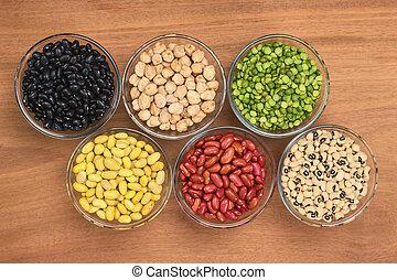 rim, peas), preto-de olhos, legumes, feijões, madeira, acima, rachar, fotografado, ervilhas, variedade, feijões, chickpeas, (black, vidro, canário, tigela
