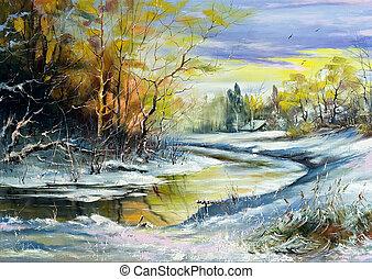 rio, inverno, vila