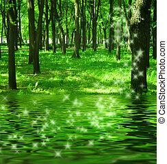 rio, magia, floresta